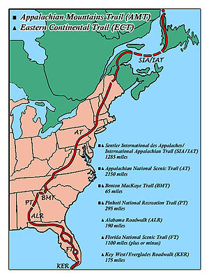 Eastern Continental Trail Route Map