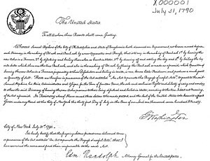 The first U.S. patent, issued to Samuel Hopkin...