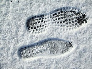 English: Footprints, Omagh An ecco footprint h...
