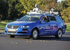 A robotic Volkswagen Passat shown at Stanford ...