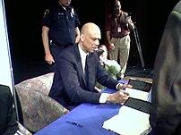 Kareem Abdul-Jabbar at a book signing.