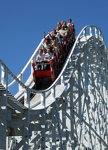 The Scenic Railway at Luna Park, Melbourne, is...