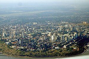 Maputo seen from the air, from southeast.