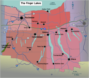 Map of the Finger Lakes region of New York, wi...