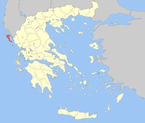Locator map of Corfu (Kerkyra) prefecture (Νομ...
