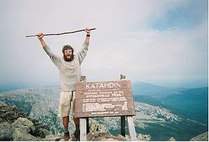 A hiker who has just completed the Appalachian...