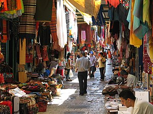 The flea market in the Old City of Jerusalem, ...