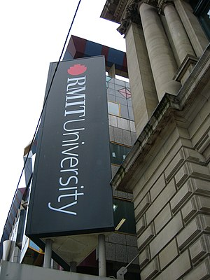 """RMIT University"" sign on Building 8"