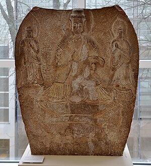 Buddhist Trinity, limestone, China, North Wei ...