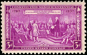 US Postage Stamp depicting delegates at the si...