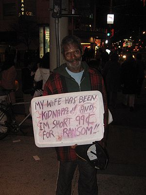 Panhandler in San Francisco, California, USA. ...