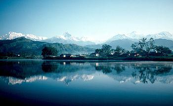 Pokhara and Phewa Lake. In the background all ...