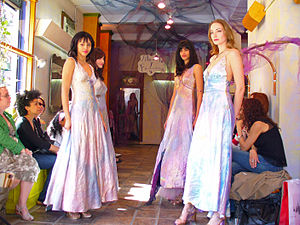 Silk dresses at the MoMo Falana fashion show