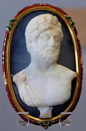 Emperor Hadrian. Antique cameo, gold mount of ...