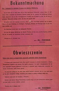 Obwieszczenie gubernatora Ludwiga Fischera o karze śmierci dla Żydów opuszczających getto warszawskie i Polaków udzielających im jakiejkolwiek pomocy. Warszawa 1941