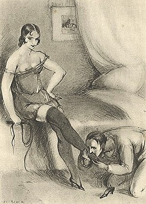 A submissive man worshipping a woman's foot.