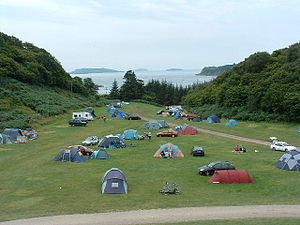 English: Gallanach Campsite. Looking south ove...