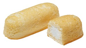 Hostess Twinkies. Yellow snack cake with cream...