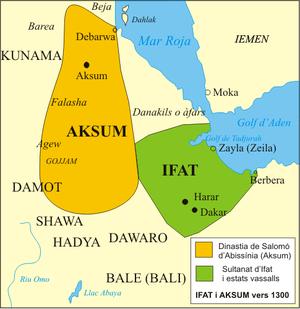 English: Ifat Sultanate and Aksum circa 1300 C...