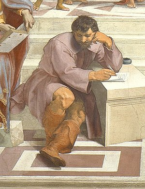 Raphael- School of Athens, detail showing R's ...