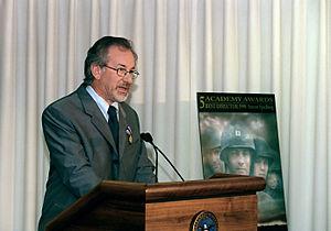 Director Stephen Spielberg speaking at the Pen...