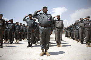 Afghan National Police recruits participate in...