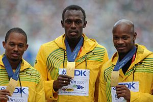 English: Michael Frater, Usain Bolt and Asafa ...