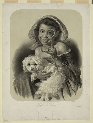 Black girl playing adult (holding toy lorgnon ...