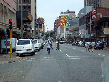 A street in Hillbrow, Johannesburg.