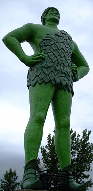 English: A statue of the Jolly Green Giant tow...