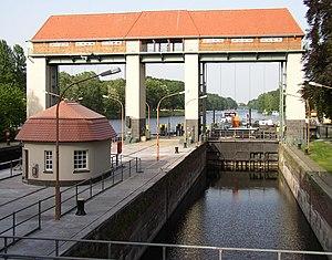 Canal lock in Kleinmachnow in Brandenburg, Germany