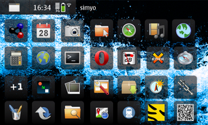 A screenshot of the Maemo interface on a Nokia...