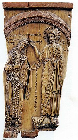An ivory plaque representing Christ crowning C...
