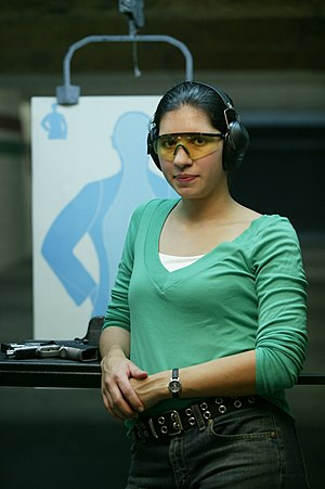 A shooter in the indoor firearm lanes at H&H S...