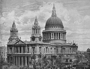 English: St Paul's from the south west in 1896.