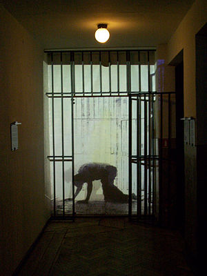 Video projection of a prisoner at the Museum o...