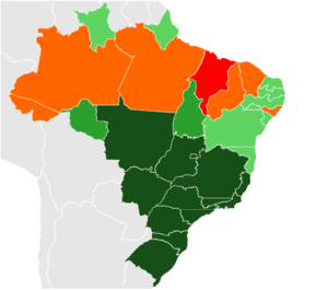 English: Map of Brazilian states by poverty in...