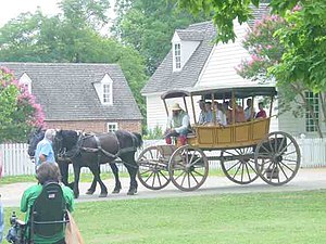Tourists on horse and wagon tour of CW