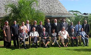 Malielegaoi with Pacific Islands leaders and Condoleezza Rice in Apia, 26 July 2008