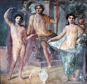 Fresco from Pompeii - Jupiter enthroned with M...
