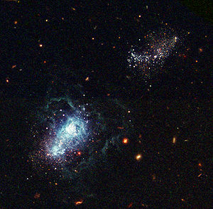Another Hubble image shows an infant galaxy fo...
