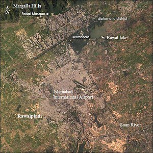 View of Islamabad and Rawalpindi from Space, p...