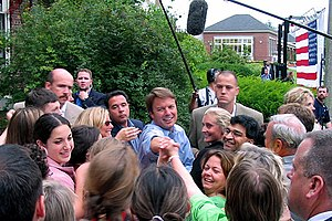 John Edwards shakes hands with supporters afte...