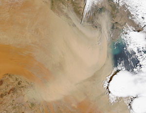 Dust storm over Kuwait and Southern Iraq, Apri...