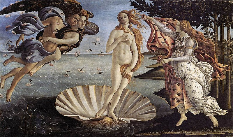 Sandro Botticelli, Narodziny Wenus, tempera na płótnie, 1485 (Galleria degli Uffizi, Florencja)