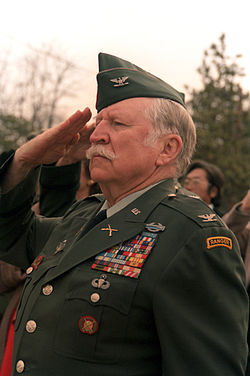 Millett at a 1985 memorial service commemorating the charge he led up Bayonet Hill in Korea