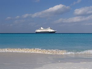MS Maasdam is anchored in Half Moon Cay, Littl...
