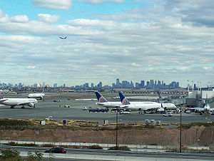 Newark Airport, NJ. Foreground: Terminal C; ba...