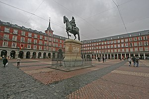 Plaza Mayor (square) of Madrid (Spain). At the...