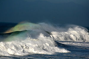Sea storm with rainbows in Pacifica, California